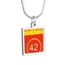 L42 vertical logo Silver Square Necklace