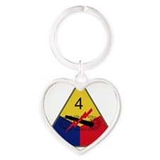 4th Armored Division Heart Keychain