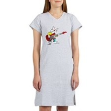 Bass Guitar Cat for Dark Appare Women's Nightshirt