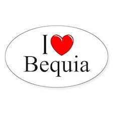 """I Love Bequia"" Oval Decal"