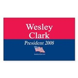 """Wesley Clark for President"" Rectangle Decal"