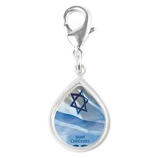 Israel at 62 Flag Silver Teardrop Charm