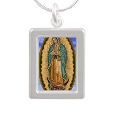 La Guadalupana 10x15 Silver Portrait Necklace