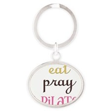pilates2 Oval Keychain