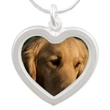 (15s) golden retriever head  Silver Heart Necklace