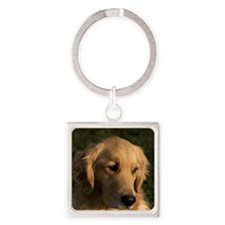 (14) golden retriever head shot Square Keychain