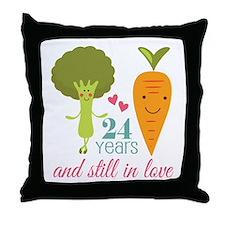 24 Year Anniversary Veggie Couple Throw Pillow