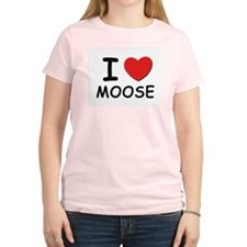 I love moose Women's Pink T-Shirt