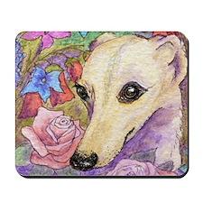 shy flower cerise frame square Mousepad