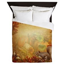 Thanksgiving Squirrel Queen Duvet Cover