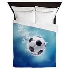 Soccer Water Splash Queen Duvet Cover