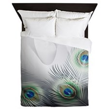 Peacock Feather Fantasy Queen Duvet Cover