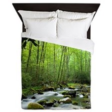 Spring Forest Stream Queen Duvet Cover