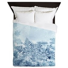 Snowflake Crystals Queen Duvet Cover