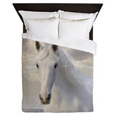 Sparkling White Horse Queen Duvet Cover