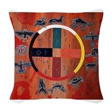medicine wheel Woven Throw Pillow