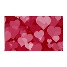 Red Valentine Hearts 3'x5' Area Rug