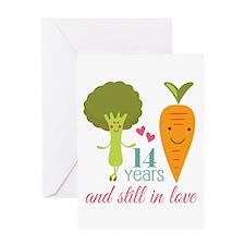 14 Year Anniversary Veggie Couple Greeting Card