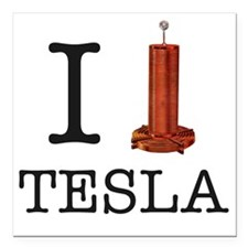 "Tesla-1 Square Car Magnet 3"" x 3"""