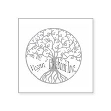 "vegan love tee Square Sticker 3"" x 3"""
