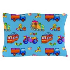 Toys Trucks & Trains Pillow Case