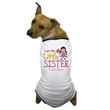 Little Sister Stick Figure Girl Dog T-Shirt