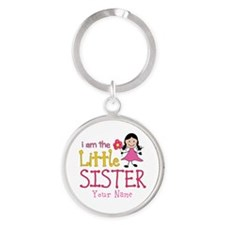 Little Sister Stick Figure Girl Round Keychain