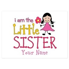 Little Sister Stick Figure Girl 5x7 Flat Cards