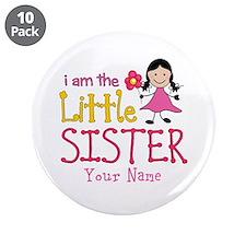 "Little Sister Stick Figure Girl 3.5"" Button (10 pa"