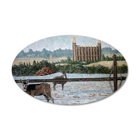 Logan temple oil painting 14 35x21 Oval Wall Decal