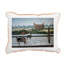 Logan temple oil paintin Rectangular Canvas Pillow