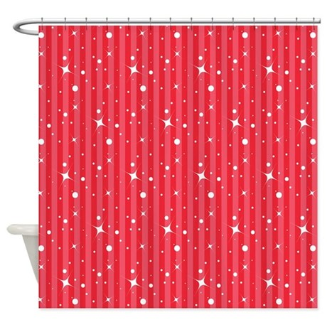 Red Candy Stripes Snowflakes Shower Curtain By CutePrints