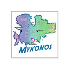 "mykonos_t_shirt_map Square Sticker 3"" x 3"""