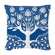 Smoking Tree Blue Woven Throw Pillow