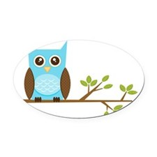 blue-owl-branch Oval Car Magnet