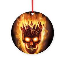 skull bonies head explodes for badg Round Ornament