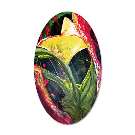 P-JUNGLE-FLOWER 35x21 Oval Wall Decal