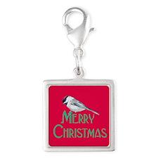 Merry Christmas Red Chickadee Charms
