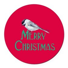 Merry Christmas Red Chickadee Round Car Magnet