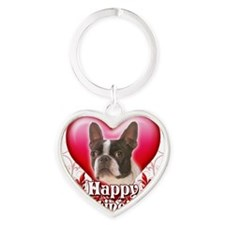 Happy Valentines Day Boston Terrier Heart Keychain