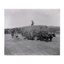 Farmers Cutting Hay, 1906 Throw Blanket