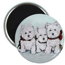 Westies in the snow copy.2007 Magnet