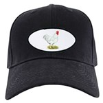 White Rooster Black Cap