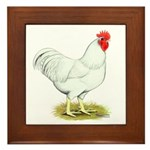 White Rooster Framed Tile