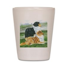 rough collie pair tri Shot Glass