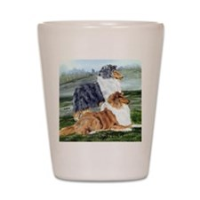 Rough Collie Pair Shot Glass