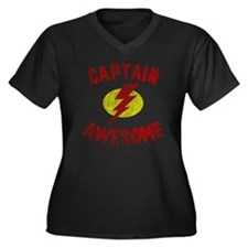 Captain Awes Women's Plus Size Dark V-Neck T-Shirt
