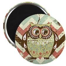 Distressed Chevron Owl Magnet