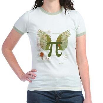 Winged Pi Jr. Ringer T-Shirt | Gifts For A Geek | Geek T-Shirts