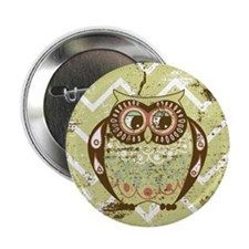 "Distressed Chevron Owl 2.25"" Button"